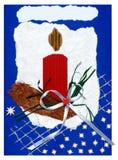Met de hand gemaakte de prentbriefkaar van Kerstmis Stock Fotografie