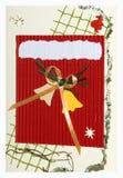 Met de hand gemaakte de prentbriefkaar van Kerstmis Royalty-vrije Stock Foto