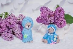 Met de hand gemaakte die zeep als teddyberen wordt gevormd Royalty-vrije Stock Foto