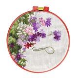 Met de hand gemaakte dwars-steek met bloemenpatroon op canvas Stock Foto
