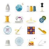 Met de hand gemaakte en naaiende geplaatste pictogrammen Vlakke stijl Stock Foto's