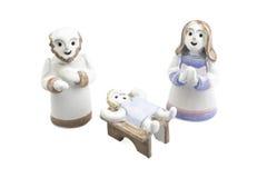 Met de hand gemaakte Geboorte van Christusscène Stock Fotografie