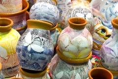 Met de hand gemaakte geschilderde keramiek Stock Fotografie