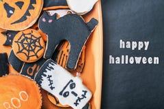 Met de hand gemaakte Halloween-koekjes Stock Foto