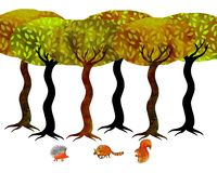Met de hand gemaakte illustratie van een groep die bomen een bos met sommige dieren vormen onderaan stock illustratie