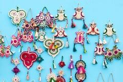 Met de hand gemaakte jute artwoks, Indische ambachtenmarkt in Kolkata Royalty-vrije Stock Foto's