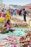 Met de hand gemaakte jute artwoks, Indische ambachtenmarkt in Kolkata Stock Foto