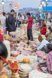 Met de hand gemaakte jute artwoks, Indische ambachtenmarkt in Kolkata Stock Fotografie