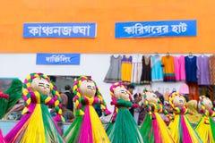Met de hand gemaakte jutepoppen, Indische ambachtenmarkt in Kolkata Royalty-vrije Stock Foto's