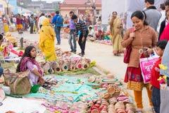 Met de hand gemaakte jutepoppen, Indische ambachtenmarkt in Kolkata Royalty-vrije Stock Fotografie