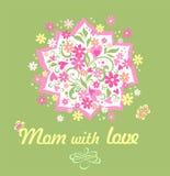 Met de hand gemaakte kaart van de groet de lichte olijf met mooi boeket met madeliefje en roze harten voor mother'sdag royalty-vrije illustratie