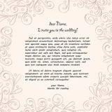 Met de hand gemaakte kaarttracery, huwelijksuitnodiging Royalty-vrije Stock Foto