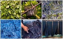 Met de hand gemaakte natuurlijke indigokleurstof stap voor stap Stock Fotografie