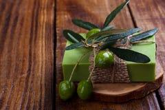 Met de hand gemaakte olijfoliezeep Royalty-vrije Stock Foto's