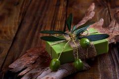Met de hand gemaakte olijfoliezeep Royalty-vrije Stock Foto