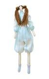Met de hand gemaakte pop die in een pantsuit met twee paardestaarten wordt geïsoleerd Royalty-vrije Stock Foto's
