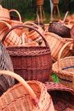 Met de hand gemaakte rieten manden Royalty-vrije Stock Foto
