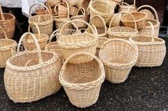 Met de hand gemaakte rieten manden Royalty-vrije Stock Afbeelding