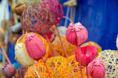 Met de hand gemaakte roze papaver Stock Foto