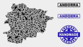 Met de hand gemaakte Samenstelling van de Kaart van Andorra en Geweven Zegel royalty-vrije illustratie