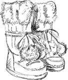 Met de hand gemaakte schets van sneeuwlaarzen Stock Foto