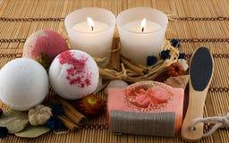 Met de hand gemaakte schoonheidsmiddelen voor bad Stock Foto