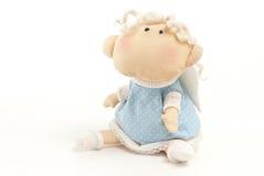 Met de hand gemaakte stuk speelgoed engelenjongen Stock Fotografie