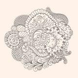 Met de hand gemaakte tekening van Mehendi de tracery geïsoleerde hindi Stock Afbeeldingen