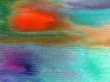 Met de hand gemaakte waterverf abstracte heldere kleurrijke weefselachtergrond Het schilderen van hemel en wolken tijdens zonsond royalty-vrije illustratie