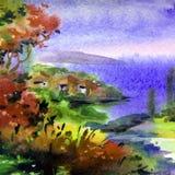 Met de hand gemaakte waterverf kleurrijke heldere geweven abstracte achtergrond Mediterraan Landschap Het schilderen van overzees vector illustratie