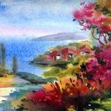 Met de hand gemaakte waterverf kleurrijke heldere geweven abstracte achtergrond Mediterraan Landschap Het schilderen van overzees royalty-vrije illustratie