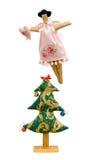 Met de hand gemaakte zachte speelgoed geïsoleerde Nieuwjaarboom en ange Royalty-vrije Stock Afbeeldingen