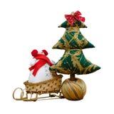 Met de hand gemaakte zachte stuk speelgoed geïsoleerde Nieuwjaarboom en een sno Royalty-vrije Stock Afbeelding