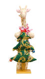 Met de hand gemaakte zachte stuk speelgoed geïsoleerde Nieuwjaarboom en giraf Stock Afbeelding
