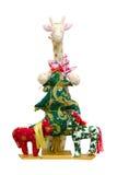 Met de hand gemaakte zachte stuk speelgoed geïsoleerde Nieuwjaarboom en giraf Royalty-vrije Stock Afbeelding