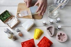 Met de hand gemaakte zeep als gift Stock Foto's