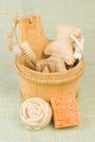 Met de hand gemaakte zeep en borstel Stock Fotografie