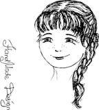 Met de hand geschilderd meisjesgezicht, vectorillustratie Royalty-vrije Stock Fotografie