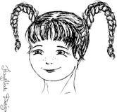 Met de hand geschilderd meisjesgezicht, vectorillustratie Stock Fotografie