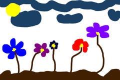 Met de hand geschilderde bloemen Royalty-vrije Stock Foto