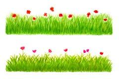 Met de hand geschilderde de Waterverf van twee Stukken van de Grens van het Gras Royalty-vrije Stock Foto