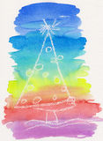 Met de hand geschilderde kleurrijke abstracte Kerstboom Royalty-vrije Stock Afbeeldingen