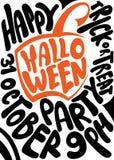 Met de hand geschreven affiche voor Halloween-partij lettering Stock Foto's