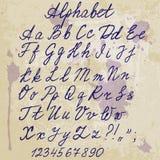 Met de hand geschreven alfabet op oud document met vlekken royalty-vrije illustratie