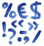 Met de hand geschreven blauw waterverfalfabet Royalty-vrije Stock Afbeeldingen