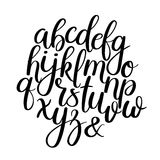 Met de hand geschreven Borstelbrieven ABC Moderne kalligrafie Hand die Vectoralfabet van letters voorzien Stock Afbeeldingen