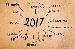 Met de hand geschreven doelstellingen voor 2017 Stock Foto