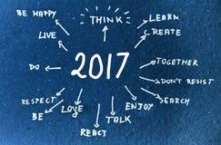 Met de hand geschreven doelstellingen voor 2017 Stock Afbeeldingen