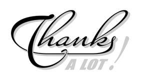 Met de hand geschreven geïsoleerde tekst hartelijk dank met schaduw Hand het getrokken kalligrafie van letters voorzien stock illustratie
