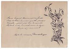 Met de hand geschreven gedicht op oude document achtergrond met tekening Royalty-vrije Stock Afbeeldingen